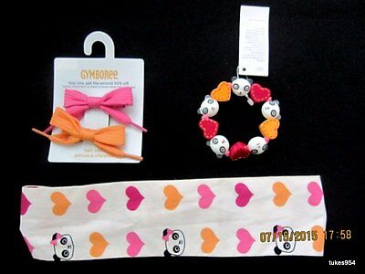 Gymboree Panda Academy Hair Clips Headband Bracelet Set Orange Pink NWT New