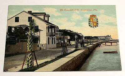 The Seawall of St Augustine FL - Vintage Color Postcard - Early 1900's