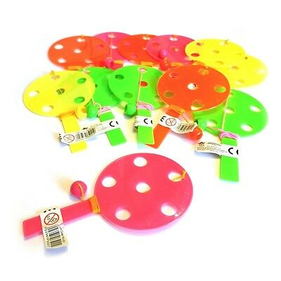 12 x MINI PADDLE BAT BALL TOY GIRLS BOYS LOOT PINATA BIRTHDAY PARTY BAG FILLERS