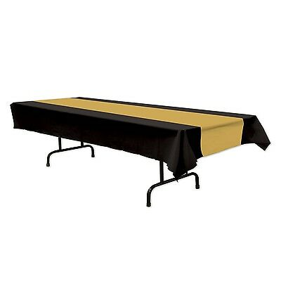 Black And Gold Plastic Tablecloth Table Cover Hollywood Party Supplies