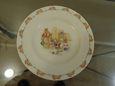 Royal Doulton Bunnykins watching TV rare 8'' child's plate. Perfect condition.