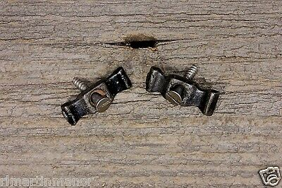 "2 Jelly cupboard cabinet 1 1/4"" flat bow tie turn latches old 1800's vintage"