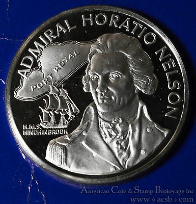Jamaica $10 Dollars 1976 Proof CAM silver KM#71a Admiral Horation Nelson Scarce.