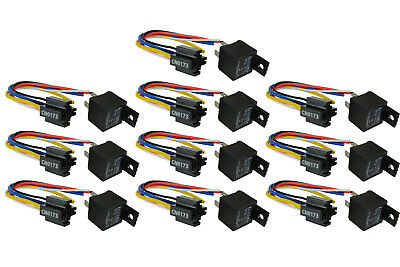 10 LOT TEMCo 12V 30 Amp Bosch Style S Relay with Harness Socket SPDT Automotive