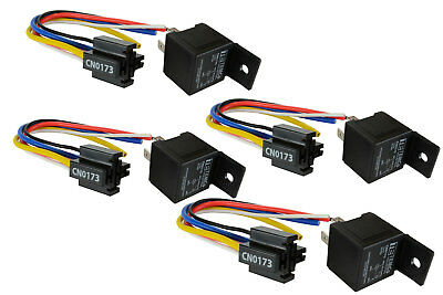 4 LOT TEMCo 12 V 30/40 Amp Bosch Style S Relay with Harness Socket Automotive