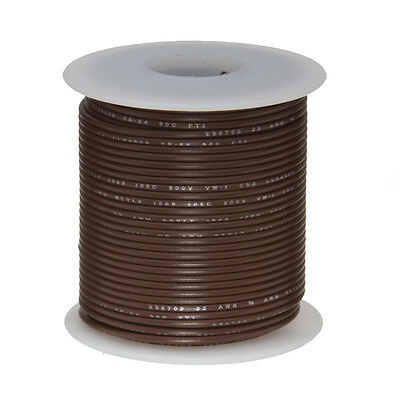 "20 AWG Gauge Stranded Hook Up Wire Brown 100 ft 0.0320"" UL1007 300 Volts"