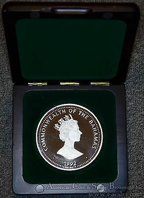 Bahamas 100 Dollars 1992 Proof silver Kilo Discovery of New World Box & COA.