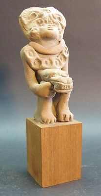 Ancient Pre-Columbian Terracotta Fertility Sculpture  Man w/ Cat  1000 - 1500 AD