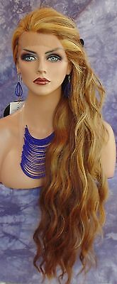 Lace Front Wig Long Wavy Red/blond Highlight F2014 Gorgeous  Usa Seller 191