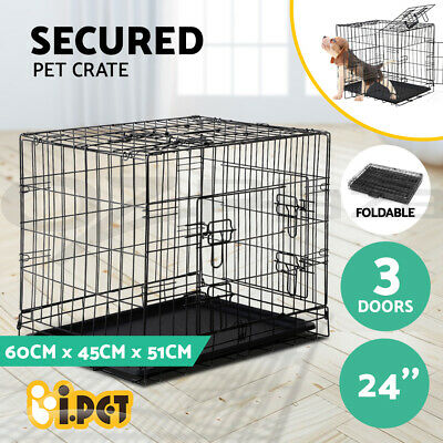 "i.Pet 24"" Dog Cage Pet Crate Puppy Cat Foldable Metal Kennel Portable 3 Doors S"