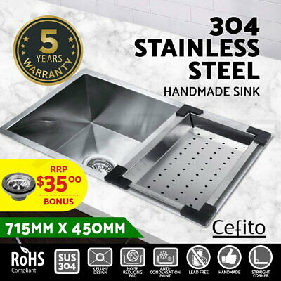 Cefito 715x450mm Handmade Stainless Steel Kitchen Double Sink Colander Bowl Home