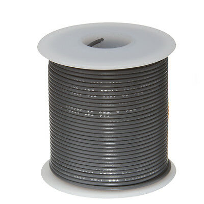 """24 AWG Gauge Stranded Hook Up Wire Gray 100 ft 0.0201"""" UL1007 300 Volts"""