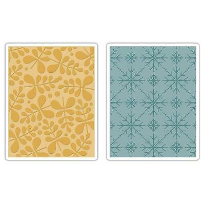 New Sizzix Branches & Snowflakes Basic Grey Embossing Folders 2 Folders 657251