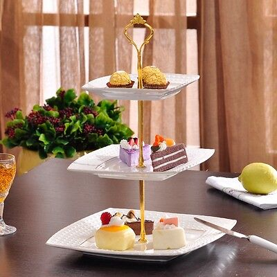 2 or 3 Tier Cake Plate Stand Handle Fitting Hardware Rod Plate Stand Silver/Gold