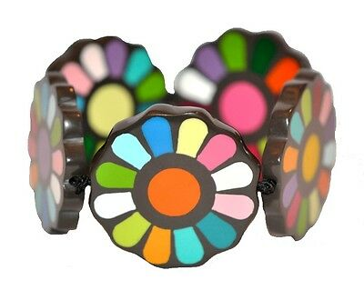 """1 1/2"""" Wide Multicolor Resin Expandable Bracelet With Flowers"""