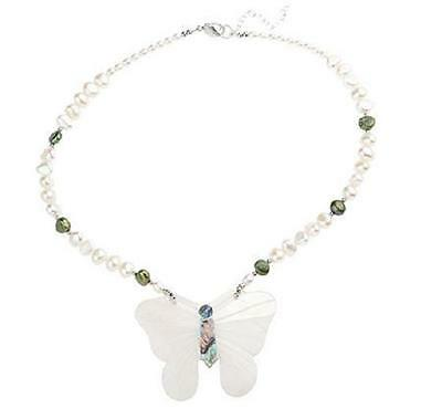 """Lee Sands Silvertone """"mother Of Pearl"""" Butterfly 18"""" Adjustable Necklace Qvc"""