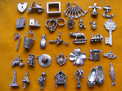 Mm Vintage Sterling Silver Charms Rings Eros Witch Thistle Hearts Fish Clock Hat