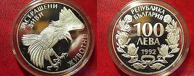 1992 Bulgaria Large silver proof 100 leva Eagle