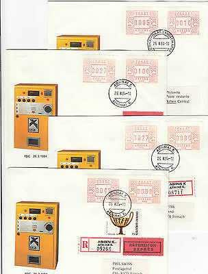 Stamps Greece 1984 frama FDC's set of 4 paying various rates, express, register