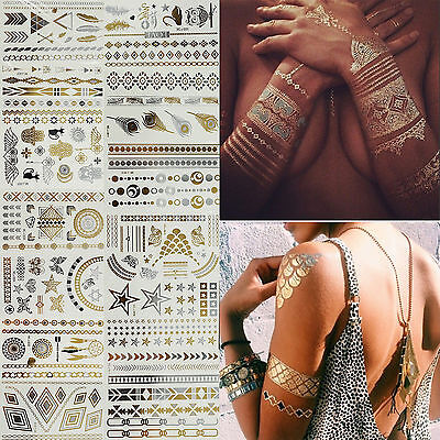 Waterproof Jewelry Temporary Tattoos Gold Silver Black  Metallic Flash Stickers