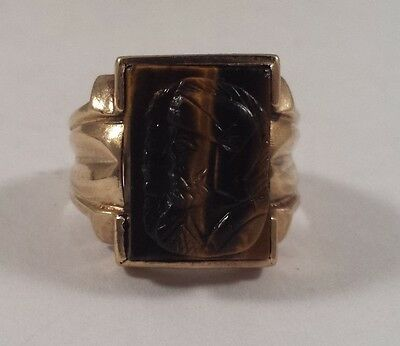 10K Gold Roman Solider Double Face Cameo Tiger Eye Ring Size 7.25
