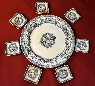 "WH Grindley Tunstall Rd 69160 MALTA 9 5/8"" Dinner Plate & Butter Pats"