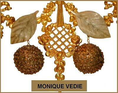 Vintage French Monique Vedie Talosel Resin Dangling Earrings --Fruits Leaves