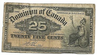 Dominion if Canada 1900 25 Twenty Five Cents Fractional Currency FREE SHIPPING
