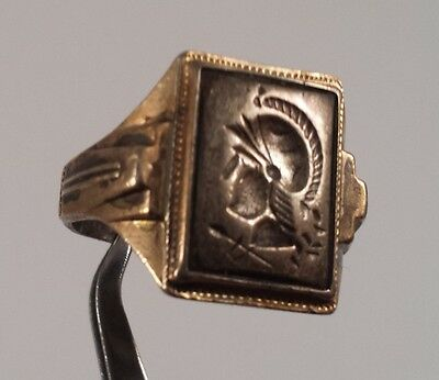 Vintage Sterling Silver Hematite Roman Soldier Cameo Ring Size 9.5