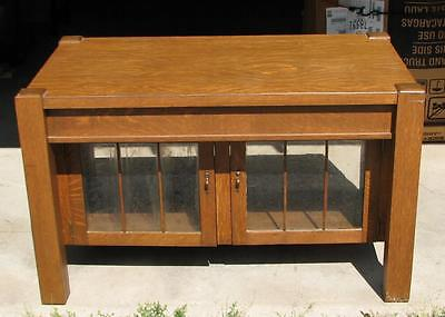 Mission Oak Library Table with 2 drawers & glass paneled doors, circa 1910, NICE