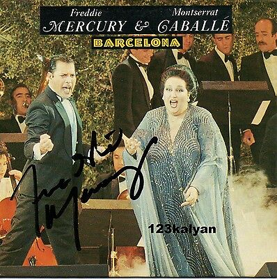 Freddie Mercury from Queen Original Signed Barcelona CD Picture Sleeve