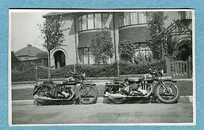G1265 Real photo postcard, Two motorcycles, UK unused