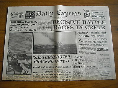 WW2 WARTIME NEWSPAPER - DAILY EXPRESS - MAY 31st 1941