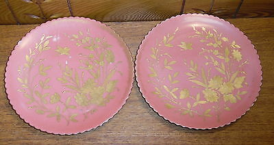 Pair Of Gold Encrusted Floral Porcelain Plates - Beehive Mark