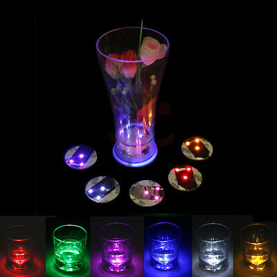 3 LED Flashing Lights Bulb Bottle Cup Mat Coaster For Clubs Bars Party KTV BAR