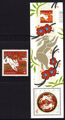 Canada 2011 Year of the Rabbit Stamp + M/S MNH