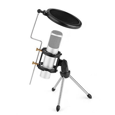 Adjustable Desktop Mini Tripod Stand for Microphone with Windscreen Cover