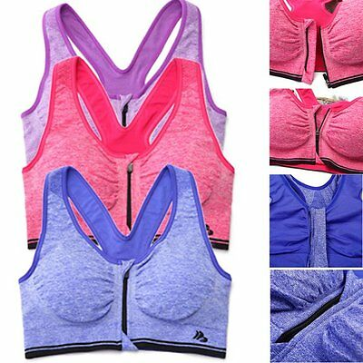 Seamless Front Zip Racerback Sports Bra Yoga Fitness Padded Stretch Workout Top