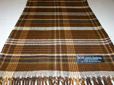 NEW 100% Cashmere Scarf Brown White Scotland Wool Check Plaid Wrap Men Women K62