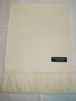 2 PLY Cashmere Scarf Long 72x12 MEN WOMEN Off White Made in Scotland