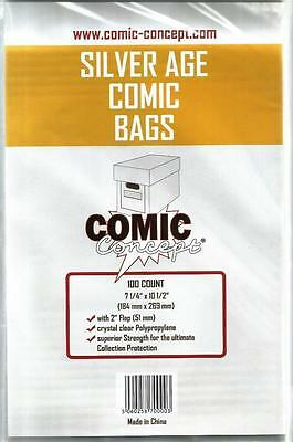 Comic Concept Silver Age Comic Bags Pack of 100 Bags - New