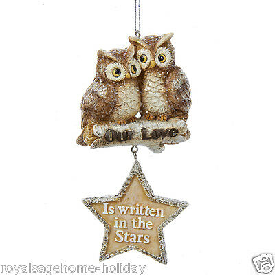 C8880 Winter's Glen Owls Our Love Is Written in the Stars Christmas Ornament