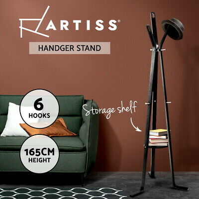 Artiss Coat Hanger Stand Rack Clothes Wooden Hat Jacket Bag Umbrella Hook Black
