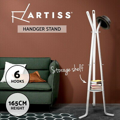 Artiss Coat Hanger Stand Rack Clothes Wooden Hat Bag Jacket Umbrella Hook White