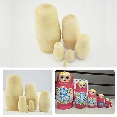 6Pcs Blank Unpainted Special DIY Gift Make Your Own Russian #E Nesting Dolls