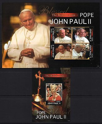 Micronesia 2011 Beatification of Pope John Paul II Sheetlet 4 + M/S MNH