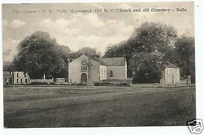 irish postcard ireland mayo the square church and cemetery balla