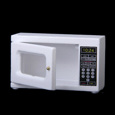 Dolls House Miniature White Wooden Microwave Oven Kitchen Accs 6.5x 2.5x4cm
