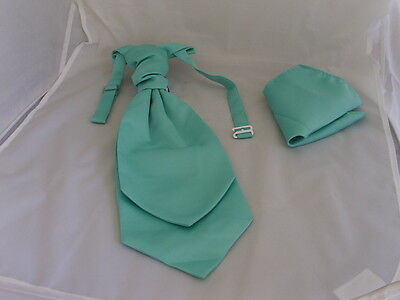 MATT Mint Green Mens Polyester Ruche Tie-Cravat & Hanky Set-More UBuy>More USave