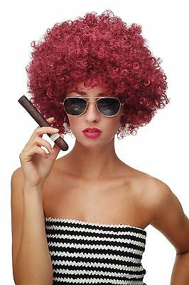 Perücke Afroperücke Afro 70er Jahre Party Funky Foxy Granatrot Rot PW0011-P67